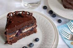 Chocolate, Mousse, Meringue and Blueberry Layered Cake