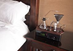 coffee-making alarm clock wakes you up with a freshly brewed mug - designboom | architecture