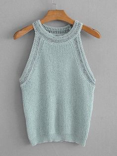Solid Knit Top -SheIn (Sheinside) - S h e - I n s i d e Knitting Designs, Knitting Patterns, Big Knits, Summer Knitting, Knitted Tank Top, Knitwear, Knit Crochet, Tank Tops, Clothes