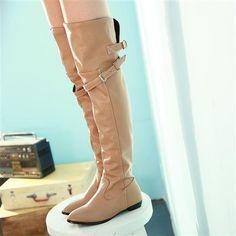 Buy Fall/Winter High Boots Knee Flat-bottom Girl Belt Buckle PU ...