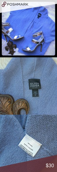 "Eileen Fisher Shrug Sweater Eileen Fisher Shrug Sweater Periwinkle Blue Wool,Sixes Petite PS, gently used. Armpit to armpit 34"", Length 18"" Eileen Fisher Sweaters Shrugs & Ponchos"