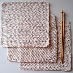 Here are patterns for three basic cotton cloths --- one knitted and two crocheted --- all are made with the ubiquitous Lily cotton yarn, but you could use any worsted weight cotton that you want.