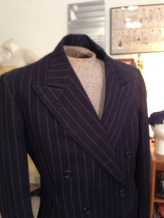 FAB VTG 1930's  Suit Jacket / Wing Lapels / Chalk Stripe / Wool / Wedding by OldohioVintage on Etsy
