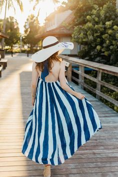 Striped halter maxi dress + wide brimmed fashion hat = Naples Pier style perfection | Kylen Every Wear