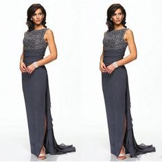 Cheap dress high, Buy Quality dress designs for big women directly from China dress code dresses Suppliers: Dark Grey Chiffon Mother Of Bride Evening Dresses With Beaded Bodice Sheath Sweep Train Side Split Fashion Mother Women Dresses