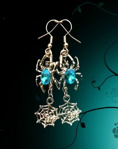 Spider Web Pendant is Wide x Long. Glass Spider: Long x Wide. Bat ~ Witch ~ Spider ~ You Pick. Spider with Spider Web ~ You Pick. Gothic Earrings, Blue Earrings, Turquoise Earrings, Pendant Earrings, Drop Earrings, Halloween Earrings, Halloween Jewelry, Christmas Jewelry, Spider Earrings