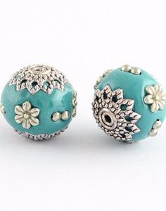 Turquoise Antique Silver Metal Round Handmade Indonesia Beads -2