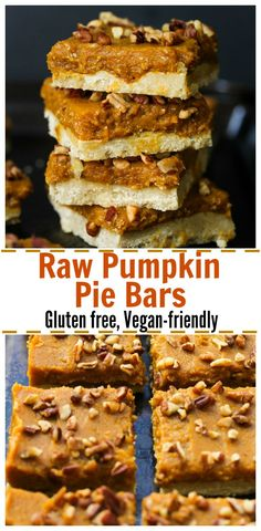 Raw Pumpkin Pie Bars (gluten free, vegan-friendly) | dishingouthealth.com