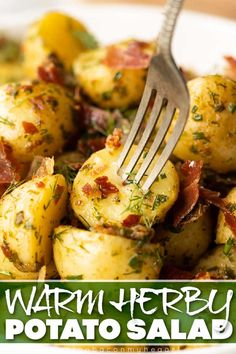 A potato salad doesn't have to be cold! Here I'll show you how to make the most delicious warm herby potato salad. | www.dontgobaconmyheart.co.uk Quick Recipes, Clean Recipes, Side Dish Recipes, Quick Easy Meals, Cooking Recipes, Potato Recipes, Vegetarian Recipes, Healthy Recipes, Healthy Food