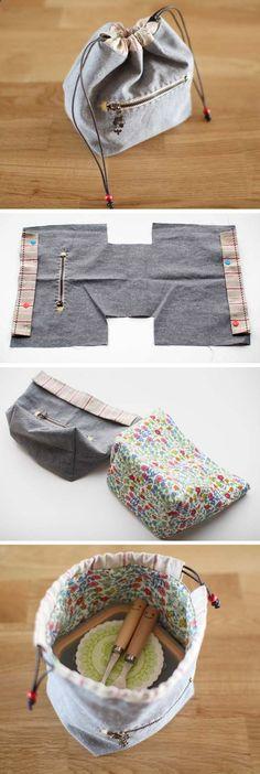 Handmade drawstring lunch box bag, handbag, small bag. Photo Sewing Tutorial. www.handmadiya.co...