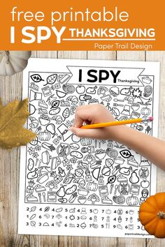 Thanksgiving I spy activity page to print for free for a fun indoor game for kids that is quiet and fun. #papertraildesign #Thanksgiving #kidsactivity #Thanksgivingkids #kidsThanksgivingactivities #Thanksgivingactivities