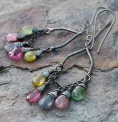 TOURMALINE chandelier earrings, MULTI color Tourmaline chandelier earrings with sterling silver via Etsy