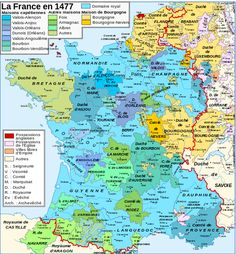 Map France 1477. Note Lorraine's position outside of France. The acquisition of the duchy of Bar would add territory both inside and outside of France.