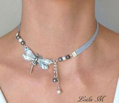 Choker necklace silver dragonfly short necklace by headbandmariage