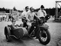 On the set of The Great Escape. WOW. That must have been fun to shoot.