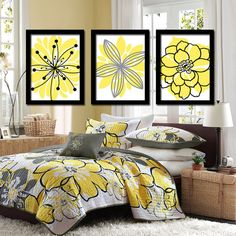 Yellow Black Charcoal Gray Flower Burst Outline Dahlia Floral Bloom Artwork Set of 3 Prints WALL Decor Abstract ART Picture Bedroom Bathroom...