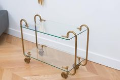 Rare Fontana Arte Brass Bar Cart | From a unique collection of antique and modern bar carts at https://www.1stdibs.com/furniture/tables/bar-carts/