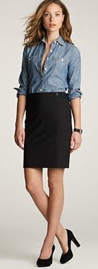 Outfit Posts: outfit post: chambray shirt, black pencil skirt, black heels