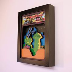 retro video game shadow boxes and cartridge holders por GlitchArtwork Retro Videos, Retro Video Games, Video Game Art, Donkey Kong, Glitch, Paper Cutting, Diorama, Arcade, Moon Patrol