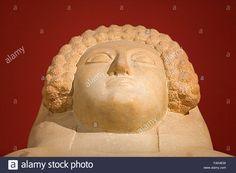Museum of Cadiz, detail of Phoenician sarcophagus 400 a c, Cádiz, Andalusia, Spain Stock Photo