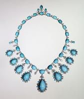 Marjorie Merriweather Post's jewelry collection includes this turquoise and diamond necklace by Harry Winston