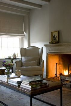 the fireplace and wing chair for drawing room would the ceiling be too much in here as well? Living Room Grey, Home And Living, Cozy Living, Belgian Style, Cozy Fireplace, Fireplace Design, Cottage, Winter House, Home Fashion