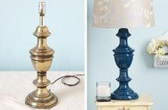 Check out this tutorial on how to paint over metal! Great idea to spruce up old lamp bases.