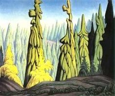Quality print by Group Of Seven artist Lawren Harris - Trees In The North; Made In Canada. Tom Thomson, Emily Carr, Canadian Painters, Canadian Artists, Landscape Art, Landscape Paintings, Group Of Seven Artists, Tree Art, Sculpture