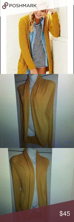 ANTHROPOLOGIE Silence Noise CARDIGAN Medium YELLOW So Chic!! Actual cardigan are photos 2-4 Anthropologie Sweaters Cardigans