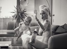 Czech photographer 'Fotograf bez talentu' (Less talented Photographer) offers us a funny series entitled Unexpected Visit. In monochrome portraits his models play the surprise of being disturb in their privacy. That gives a humorous result.  More info: Fotograf bez talentu (h/t: fubiz)