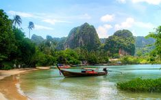 Download wallpapers tropical island, beach, tropical forest, Thailand, rocks, sea, tourism, boat