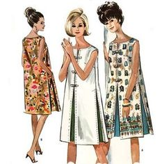 Vintage Dresses Vintage shift dresses - Love the contrast inverted pleats. Vintage Dresses 1960s, Vintage Dress Patterns, Dress Sewing Patterns, Vintage Apron Pattern, Shift Dresses, 1960s Shift Dress, Shift Dress Summer, Sixties Fashion, Retro Fashion