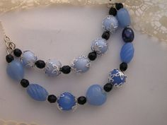 Blue Beaded Necklace Blue Necklace Beaded by CathysCraftyDesigns