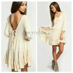 • Last one • The BELLA Laced Up Back Ruffle Dress Slightly sheered apricot colored dress with a gorgeous laced up style bacj. Great for any seasons.  Features a ruffle hem.  Material: Polyester.  NWOT. Dresses