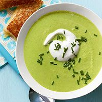 Pea & Edamame Soup with Grilled Cheese Sticks from _Every Day with Rachael Ray_ magazine. Made this tonight and it was a big hit!