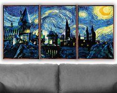 Harry Potter Set of 3 Prints, Hogwarts Wall Art, Starry Night, Hogwarts Print, Hogwarts Art Print, Harry Potter Art, Harry Potter Wall Art
