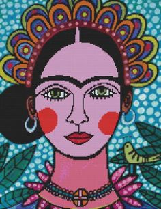 Frida Kahlo Cross stitch kit by Heather Galler by GeckoRouge