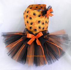 Cute orange Halloween dog dress with spiders and orange and black tutu. O M G Ryan will DIE