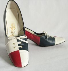 Vintage Shoes Heels Red White and Blue Size 7 AAA by RiffRaffReview, via Flickr