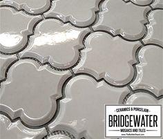 Vento Gray Arabesque Beveled Ceramic Tile $11.95 a Square Foot for 2016 and Free Shipping. Mosaic Tiles, Wall Tiles, Arabesque Tile, Bathroom Inspiration, Bathroom Ideas, Grey Backsplash, Home Improvement, Bathrooms, Diy Projects