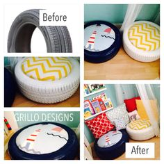 How to make : 1. Spray paint tire 2. Cover a circular piece of 1cm Thick MDF wood (about 45cm diameter) with lots of stuffing (you can glue it in place if you want). 3. Cover the stuffing with fabric and staple to the flip side of the wood with staple gun. The seating pad isn't stuck down so you can actually store things inside the tires (you can never have too much storage!).