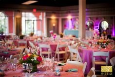 Have you ever seen such a colorful wedding reception? In our Windstar Garden Room with mirrored and glass walls - photo by #BethInsalaco