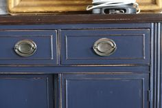 Sideboard revamp project using General Finishes gel color Coastal Blue and Java Gel Buffet.   Great finish from Primitive and Proper.