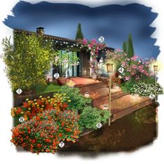 Projet aménagement jardin : Plein sud by night