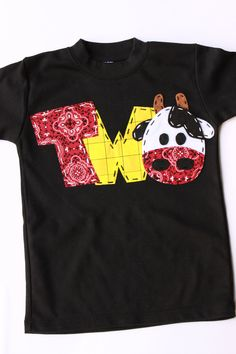 barnyard birthday shirt, two, cow, 2nd,  t shirt, barn yard, farm theme, boy black shirt. $23.99, via Etsy.