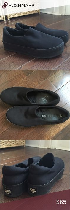 Opening Ceremony Black Cici Platform Sneaker these are in very good condition; only been worn 3-4 times. some signs of light wear but nothing significant. these fit a 7.5-8. these are still available full price for $195! #openingceremony #platformsneakers #platformshoes Opening Ceremony Shoes Sneakers