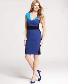 Ann Taylor - AT Dresses - Ponte Colorblocked Sheath Dress