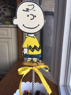 NEW Charlie Brown Centerpiece by on Etsy Snoopy Birthday, Snoopy Party, Baby Boy 1st Birthday, 1st Boy Birthday, Charlie Brown Pumpkin, Charlie Brown Christmas, Charlie Brown And Snoopy, Peanut Baby Shower, Ward Christmas Party