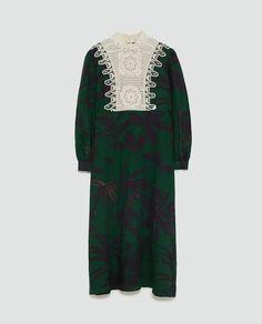 PRINTED DRESS WITH BIB from Zara