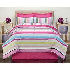 -Pink Carousel Stripe Bedding Set
